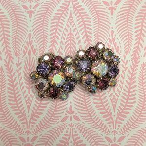 Purple Rhinestone cluster costume clip on earrings